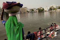 Lago Pichola, Udaipur (Tommaso Petruzzi) Tags: street trip travel people woman india lake verde green colors lago donna back nikon indian acqua colori viaggio washing rajasthan udaipur ghat lavaggio saari panni cesto d300s