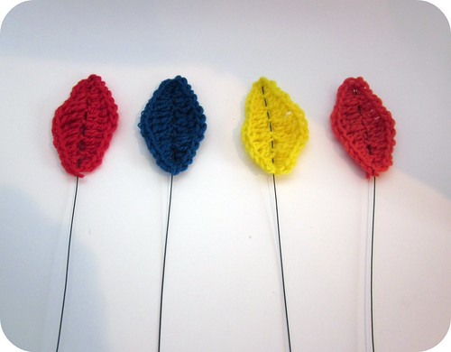Crocheted Leaves with wire for branch