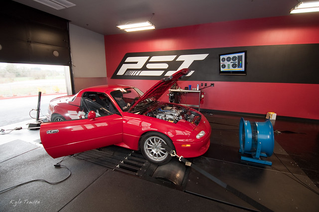 Turbo Mazda Miata on the dyno at PSI for tuning