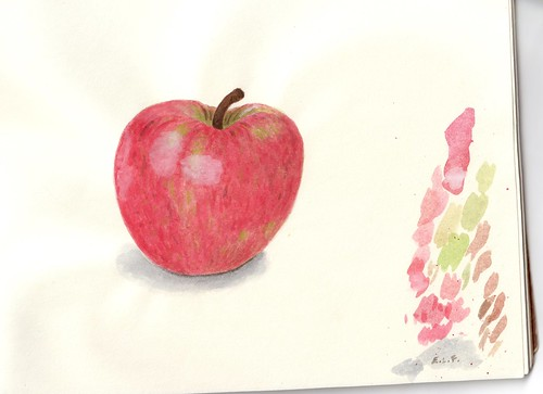 scan of apple watercolor painting by Eve Fox