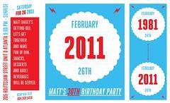 Graphic Timeline - 30th Birthday Invitations (Back) (Ashley {Pop + Shorty}) Tags: blue red illustration 30thbirthday timeline invitations customwork popandshorty ashleydailey ashleysalge