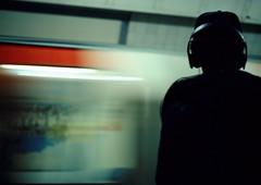 the underground (Benjamin Skanke) Tags: england man london mamiya film analog underground subway 645 metro tube slide 64 pro headphones medium format 28 vader expired ektachrome canoscan 120mm 80mm sekor epr