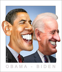 Obama - Biden - Caricature