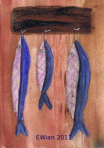 three little fishes hanging in a row 9