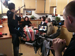 Filming on Kitchen Set