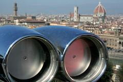 Florence 060311 (L A Cooley) Tags: bridge italy panorama silver river florence italia cityscape shine tourist binoculars telescope chrome firenze duomo bargello arno