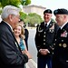 LTG Lynch, Mrs. Sarah Lynch and CSM Ciotola visit with Daniel Medrano, president of the Vietnam Veterans of America Chapter 366 at the All-Veterans Memorial Service