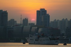 Shanghai - River Sunset (cnmark) Tags: china cruise sunset building architecture modern port buildings geotagged boat ship shanghai traffic dusk district vessel center terminal quay international wharf   gebude pilot pilots hongkou  allrightsreserved platinumheartaward mygearandme mygearandmepremium mygearandmebronze mygearandmesilver geo:lat=3124683810237303 geo:lon=1215135260139084