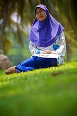 Nadia at 5 months ;) (Rasfan Abu Kassim) Tags: portrait tree green grass nadia coconut hijab 5d usm ef70200mm f28l flowerofislam