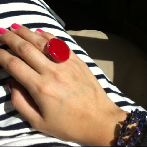 Today's colours: Chanel Insolente nails, red Pylones ring, striped dress, blue ponytail holder