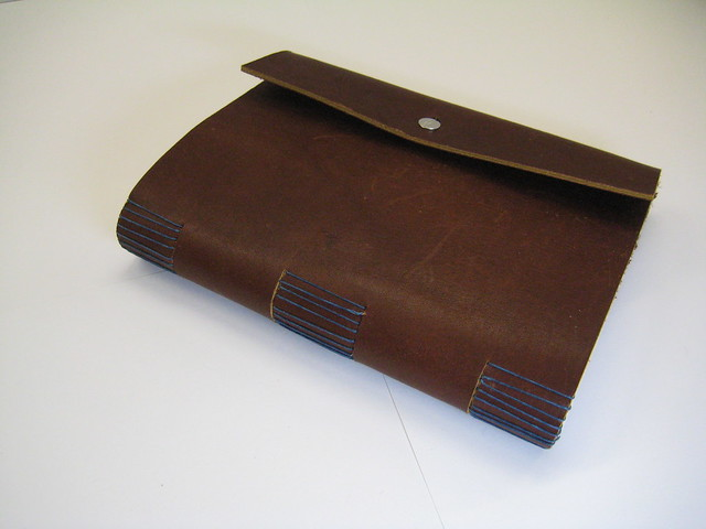 leather sketchbook side view