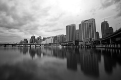 Cockle Bay, Sydney (hansmaulwurf23) Tags: longexposure sky blackandwhite clouds reflections outside pier sydney wideangle contrejour 10mm cocklebay nd400