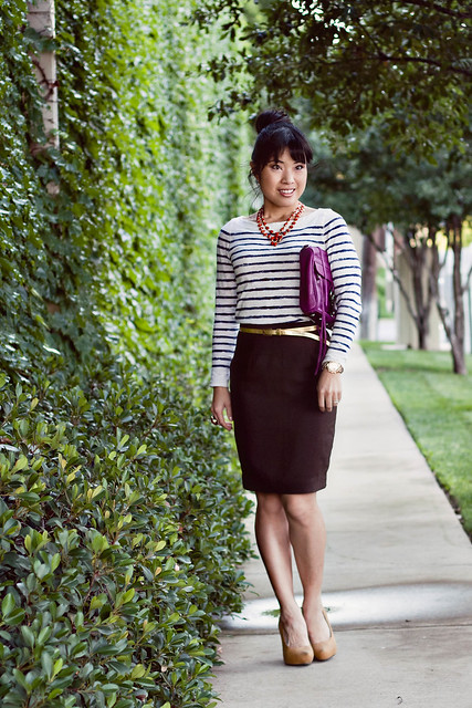 loft striped shirt talbots skirt charlotte russe gold skinny belt forever 21 mustard pumps rebecca minkoff mac clutch magenta