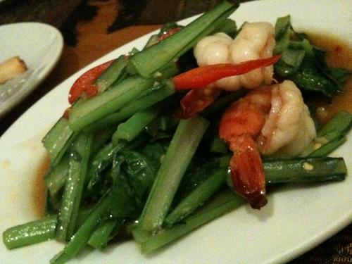 小松菜とえびの炒め物。