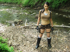 Tomb Raider Legend cosplay (VictoriaCosplay) Tags: park creek river boots cosplay angelinajolie laracroft guns shorts bellybutton navel tombraider indianajones cosplaygirl victoriacosplay wwwcosplaygirlwebscom