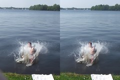 Paterswoldermeer splash 2 (stereo 3D parallel) (BdR76) Tags: water stereoscopic stereogram 3d stereo stereoview groningen splash parallel cannonball stereographic wiggled paterswoldermeer
