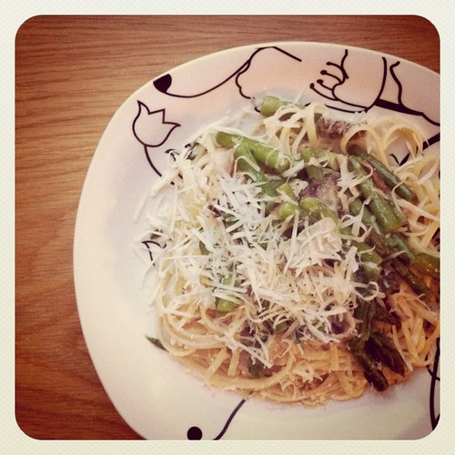 Linguini with Morrels and asparagus and freshly grated Parmesan