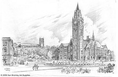 Rochdale Town Hall (KenBromleyArtSupplies) Tags: art pencil sketch artwork drawing originalart ken bromley kenbromley