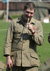 Soldier Smoking Clay Pipe (messy_beast) Tags: wwii secondworldwar walthamabbey livinghistory veday gunpowdermills