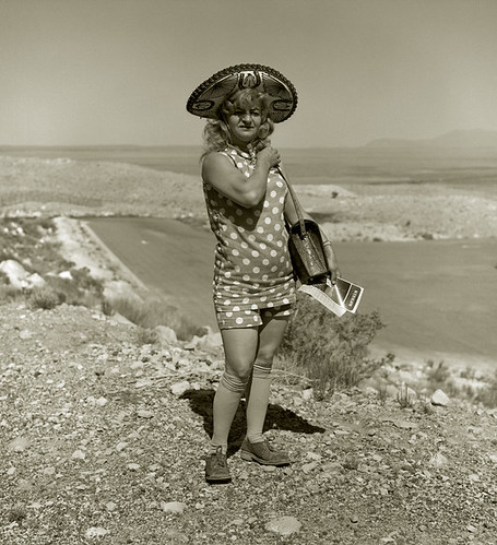 Steve Fitch, Tourist Lady, Highway 66, Meteor Crater, Arizona, 1971