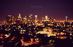 Los Angeles Skyline - OOF (isayx3) Tags: skyline night buildings 50mm lights la losangeles los nikon view angeles bokeh outoffocus freeway nikkor f18 d3 fifty nifty oof isayx3 plainjoephotoblogcom