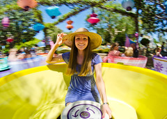 'Round And 'Round On Disneyland's Mad Tea Party (Tom.Bricker) Tags: disneyland disney fisheye disneyworld mickeymouse waltdisneyworld magickingdom fantasyland aliceinwonderland waltdisney sleepingbeautycastle madteaparty disneylandresort disneyphotos disneyphotography wdwfigment tombricker disneyfisheye