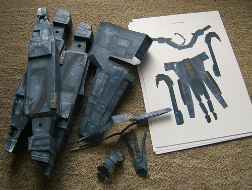 Papercraft Caldari Kestrel in progress