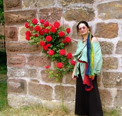 Bänkelsängerin am Turm der Marktkirche