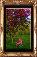 Dolly And The Blooming (mazzmn) Tags: pink trees tree green yard outside weird spring chair blossom lawn odd frame flowering dolly whimsical pinkchair crabapple crackerbarrel dollyparton