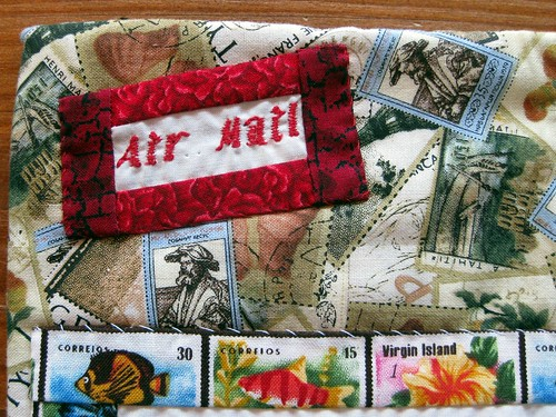Air mail & stamp fabric