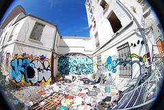 la teuf d'hier ? sauvage ! (lepublicnme) Tags: blue sky streetart paris france trash graffiti chaos may fisheye bleu kc pal peleng keno 2011 horf dast horfe horph horphe palcrew dastkc