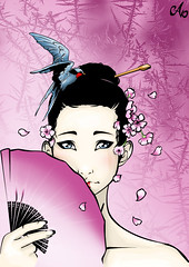 Swallow Geisha (MarvinThaMartian) Tags: pink cute bird girl japan photoshop hair fan comic sad little sweet geisha nippon illustrator swallow vector kaway cs5
