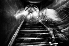 Unintended (DevilFishMark) Tags: blackandwhite motion blur stairs manchester blackwhite blurry library steps 2011 a700 johnrylands johnrylandslibrary unintented johnryland