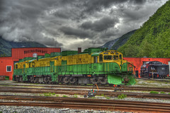 White Pass & Yukon Route Railroad (Thad Roan - Bridgepix) Tags: railroad travel cruise alaska train photo image princess picture skagway yukon locomotive railyard hdr thad roan whitepass sapphire facebook whitepassandyukonroute bridgepix 201106 61x5