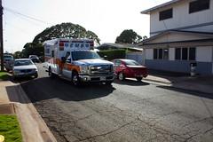 Baker One Arrives (MattUrsua) Tags: ambulance patient medical elderly fireman honolulu firemen emergency firefighter paramedic ems