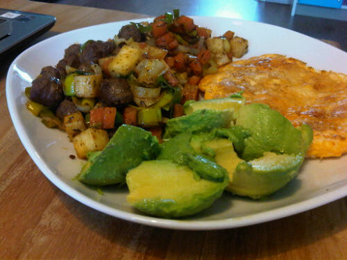 Sausage, omelet and avocado breakfast