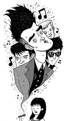 Covering The Smiths (TheGrossUncle) Tags: sanfrancisco blackandwhite bw music art rock illustration morrissey cartoon pop indie editorial vocals penandink thesmiths discography acapella linework villagevoicemedia thegrossuncle