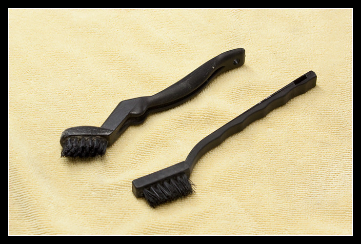 Brushes used to clean pads