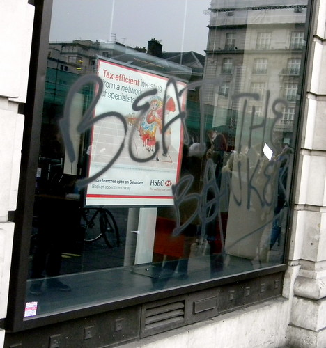 graffiti beat the bankers HSBC bank stop the cuts protestors