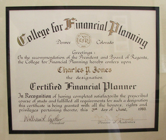 College for Financial Planning Certificate | Chuck Jones ...