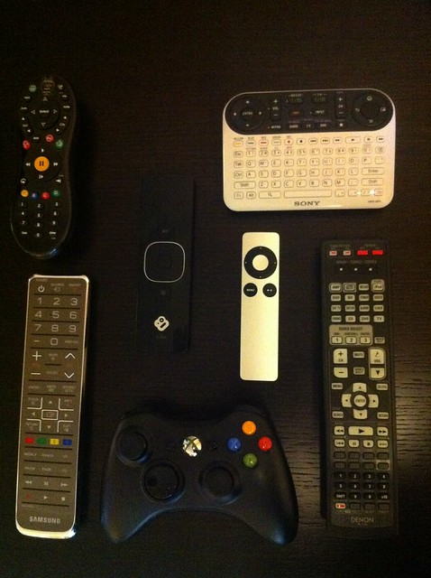 My new pile of 7 necessary remotes