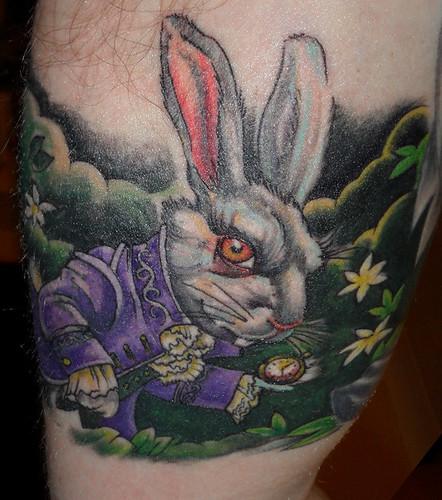 White rabbit tattoo Tattoo by Tim Baxley Southside Tattoo Piercing 1597