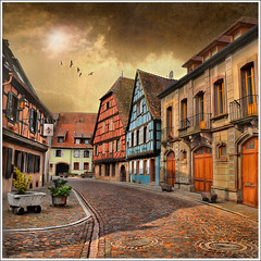Nobody... (Jean-Michel Priaux) Tags: road sunset sky house france home architecture clouds photoshop painting way landscape village nobody colmar alsace ruelle paysage maison rue picturesque hdr tourisme patrimoine colombages pitoresque routedesvins patrimony pavels idream priaux impressedbeauty kientzheim vanagram mygearandme