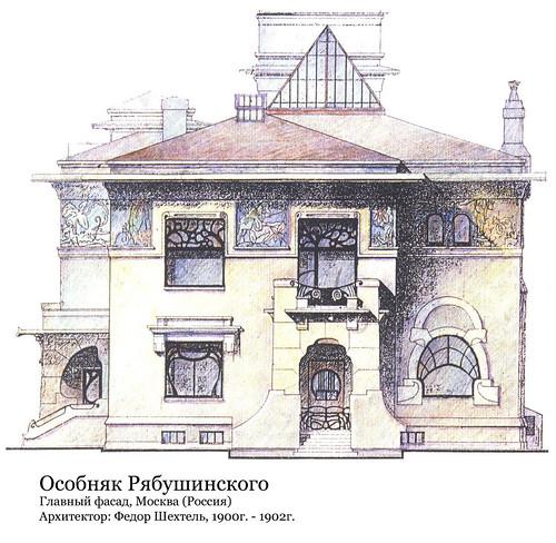 Особняк Рябушинского, архитектор Федор Шехтель, чертеж фасада