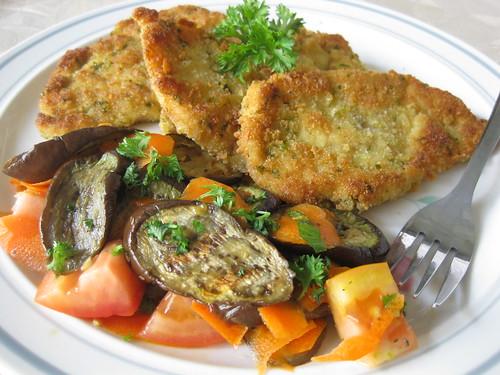 Chicken Schnitzel with Eggplant & Tomato Salad