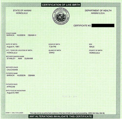 president birth certificate
