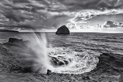 Killer Cape Kiwanda (Darren White Photography) Tags: sunset blackandwhite nature canon landscapes scenic pacificocean haystackrock pacificcity capekiwanda 1740l forcesofnature blackandwhitelandscapes darrenwhite traveloregon darrenwhitephotography 5dmkii oregonstockphotography