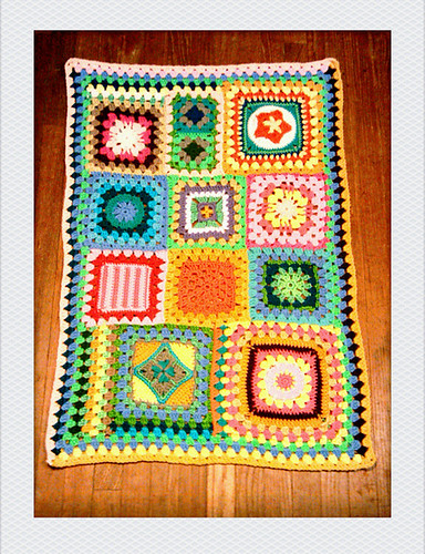 things to make and do: progress: granny square sampler afghan