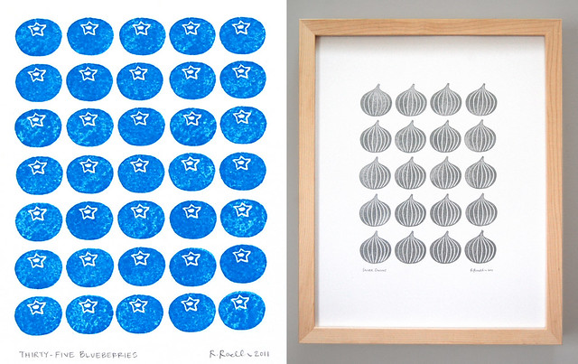 Blueberries and Onions - block prints
