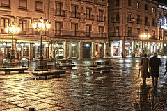 Reflections/rain/lights.  Segovia (Spain) (king David Israel) Tags: street city luz rain reflections landscape person lights calle spain segovia urbano hdr reflejos kingdavid castillaleon